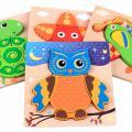 Døevìné puzzle Montessori 3ks
