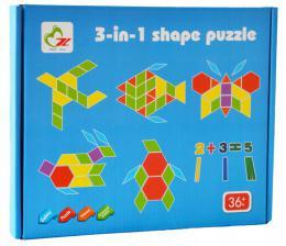 Døevìná skládaèka s hrou 3v1 Montessori